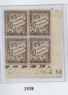 Taxe 10 Cts Brun Type 2, Coin Daté 1938 - Taxes