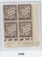 Taxe 10 Cts Brun Type 2, Coin Daté 1940 - Taxes