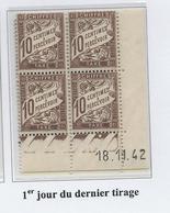 Taxe 10 Cts Brun Type 2, Coin Daté 18/11/1942 (1er Jour Du Dernier Tirage) - Taxes