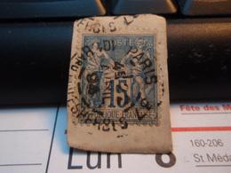 Timbre Sage 15 C Oblitéré. PARIS 37 Bd MALESHERBES 1894 - 1876-1898 Sage (Type II)