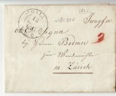 3759 HELVETIA  ST. GALLEN TO ZURICH 1835 WITH TEXT - Suisse