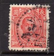 CHINA CINA 1944 1946 Dr. Sun Yat-sen 3$ USATO USED OBLITERE' - 1912-1949 Republik