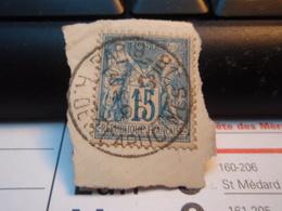 Timbre Sage 15 C Oblitéré. PARIS 81 A Des CAPUCINES 1890 - 1876-1898 Sage (Type II)