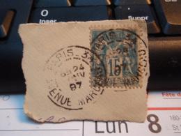 Timbre Sage 15 C Oblitéré. PARIS 34 AVENUE MARCEAU 1897 - 1876-1898 Sage (Type II)