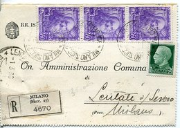49860 Italia, Circuled Registered Card 1939 With 3 Stamps Leonardo Da Vinci - Arts