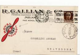 5106 MILANO GALLIAN LUBRIFICANTI  X GRAVEDONA - TARGHETTA - Marcophilie