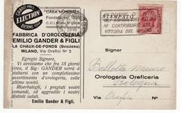 7300 Gander Orologi La Chaux De Fonds Svizzera Da Milano X Bologna - Targhetta - Marcophilie
