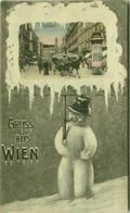 AK AUSTRIA - GRUSS AUS WIEN - GRABEN - SNOWMAN - EDIT B.K.W.I. - POSTMARK  '' BORSE WEIHNACHTSAUSSTELLUNG '' (BG6848) - Sonstige