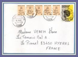 Gabon N° 459 + 611B 1989 > France Hyères - Gabon