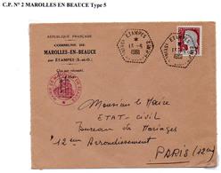 Poste Automobile Rurale De Seine Et Oise Circuit D' Etampes Sud CP N°2 Marolles En Beauce Type 5 - Cachets Manuels