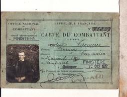 Ancienne Carte Du Combattant Finistere Commana - Documents