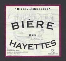 Etiquette De Bière à La Rhubarbe  -  Des Hayettes  -    Brasserie Audomaroise à  Saint Omer   (62) - Beer