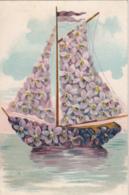 BU03. Vintage Postcard. Sailing Boat. Violets. Flowers. - Flowers, Plants & Trees
