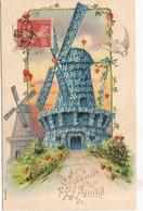 CPA Carte Gaufrée Moulin à Vent Souvenir De L'Amitié - Moulins à Vent