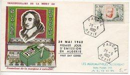 CaD De 'PASCAL SETIF' De 1962 Sur Enveloppe Souvenir Affranchie Timbre De France Pascal - Algérie (1924-1962)
