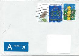 Belgium : A - PRIOR Letter Via Macedonia 2010.nice Stamps Motive :   Europa 2000,World Mathematical Year,birds - Covers & Documents