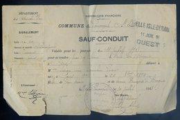 Sauf Conduit 11 Juillet 1918 Pour Se Rendre Par Le Train De Belle Isle à Bégard Cachet De Saint Eloi Louargat DEC19-15 - Chemins De Fer