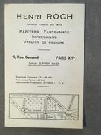 CARTE PUB PAPETERIE CARTONNAGE HENRI ROCH 9 RUE GASSENDI PARIS XIV - Frankreich