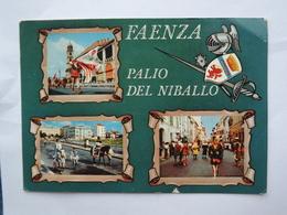 Q896  CARTOLINA  SALUTI DA FAENZA PALIO DEL NIBALLO    VEDUTINE NON  VIAGGIATA - Faenza