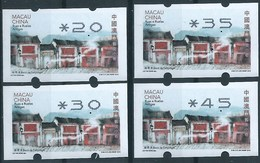 MACAU 2016 ATM LABELS STREETS AND ALLEYS NEW VISION MACHINE BOTTOM SET OF 4 - Automaten