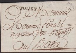 MARQUE POSTALE YVELINES AVEC GRIFFE DE POISSY SUR LETTRE AVEC TEXTE DE 1790 LUXE - Poststempel (Briefe)