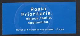 Italia 1999; Libretto: Posta Prioritaria Fondo Oro Lire 1200=€0,62 Con Etichetta - Booklets