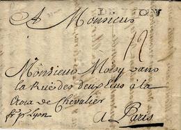 """1742- Bureau Français à L'Etranger - DE TURIN  """" Fr P Lyon """"  Taxe 12 Sols Pour Paris - 1701-1800: Précurseurs XVIII"""