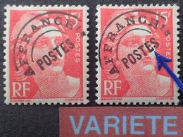 """DK4/36 - 1948 - TYPE MARIANNE DE GANDON - PREO - N°104 + N°104a NEUFS** - VARIETE ➤➤➤ """" E """" Avec Crochet - Abarten: 1945-49 Ungebraucht"""