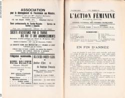 L ACTION FEMININE BULLETIN DES FEMMES FRANCAISES N 15 DECEMBRE 1910 10 PAGES SOMMAIRE EN FIN D ANNEE PUBLICITE - Other