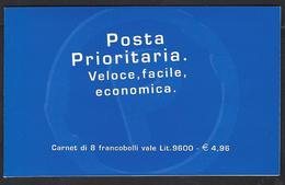 Italia 1999; Libretto: Posta Prioritaria Fondo Oro Lire 1200=€0,62 , 8 Francobolli Senza Etichetta - Booklets