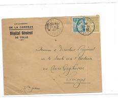 France Hopital Géneral De TULLE  Lettre Oblitéré Le 10 11 1944 - Marcophilie (Lettres)