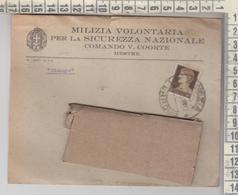 MESTRE VENEZIA BUSTA MILIZIA VOLONTARIA PER LA SICUREZZA NAZIONALE COMANDO V. COORTE 1935 - Marcofilía