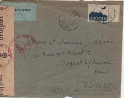 NORVEGE  ENVELOPPE AVEC CENSURE - Lettres & Documents