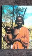 CPSM ETHIOPIE UGARO FOLKLORE FEMME NOIE AU SEIN NU AVEC SON ENFANT - Ethiopie