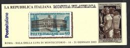 """Italia 2003; Libretto Montecitorio: Mostra Filatelica """"La Repubblica Italiana"""", Etichette Al Retro. - 6. 1946-.. Repubblica"""