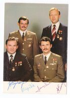 1980s HUNGARY, BERTALAN FARKAS, FIRST HUNGARIAN ASTRONAUT, ORIGINAL AUTOGRAPH, 3 MOTE FELLOW ASTRONAUTS AUTOGRAPHS - Autographs