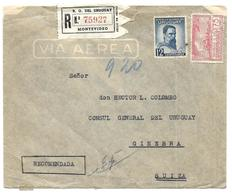 URUGUAY Lettre Recommandé Par Avion A Destination De Genève 11 10 1941 - Uruguay