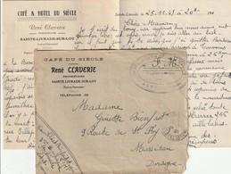 """Lettre En F.M. De Ste Livrade Sur Lot - Cachet Du Centre D'Instruction Militaire Et Technique """" Env. Du Café Du Siècle. - Guerre De 1939-45"""