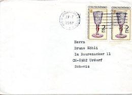 TCHECOSLOVAQUIE. N°2652 De 1985 Sur Enveloppe Ayant Circulé. Art Du Verre. - Glasses & Stained-Glasses
