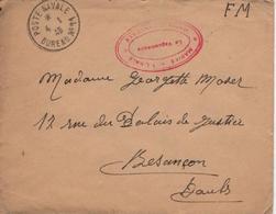 POSTE NAVALE Bureau N° 11 Indicatif Numérique Marseille Lettre 4 1 1940 FM Pour Besançon Cachet Rouge Vaguemestre - Marcofilia (sobres)