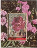 Ajman 1972  Fiori Flowers Garofani Carnations Oeillets  Claveles  Foglietto Perf. Sheets - Ajman
