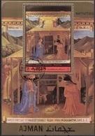 "Ajman 1972 Bf. 421A ""Natività"" Quadro Dipinto Da Beato Angelico Paintings Tableaux Sheet  Perf. CTO - Ajman"