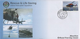 Mauritius (2019) - FDC - /  Flugzeug - Helicopter - Rescue - Police - Hélicoptères