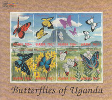 2000 Uganda Butterflies Papillons Miniature Sheet Of 8 MNH - Oeganda (1962-...)