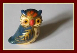 Chouette Terre Cuite Peinte Vernissée H 3,5 Cm (perçée En Dessous > Pour Crayon) - Birds - Owls