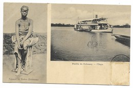 2 Vues - Femme De BEDOU - Flotille Du Dahomey, L'ONYX...1908  (timbre Décollé) - Dahomey
