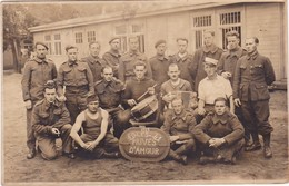 Carte Photo : Groupe De Soldats Avec Tambour Et Accordéon : 40 - 41 Les Privés D'amour - Guerra 1939-45