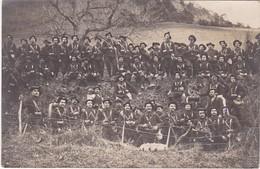 Carte Photo : Groupe De Soldats : Avec Clairons -  14é Régt. De Chasseurs Alpins Dans Une Tranchée - à Définir - Guerre 1914-18