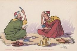 CPA Personnages Arabes Joueur De Cartes Carte à Jouer Playing Card Illustrateur P. NERI (2 Scans) - Illustrateurs & Photographes