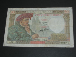 50 Cinquante Francs  24-4-1941 - JACQUES COEUR   **** EN ACHAT IMMEDIAT **** - 1871-1952 Antichi Franchi Circolanti Nel XX Secolo